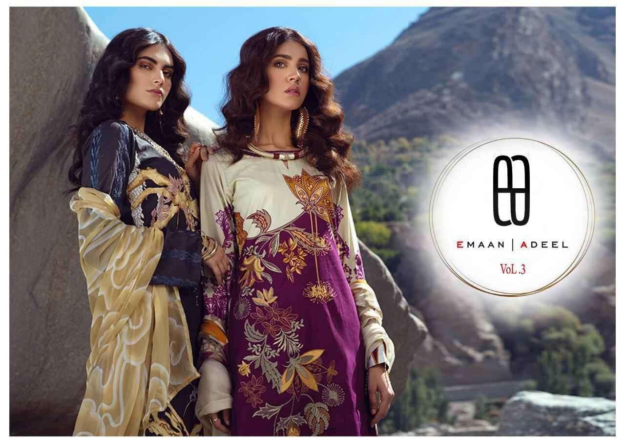 Emaan Adeel Vol 3 Printed Karachi Ladies Suit Catalog Supplier