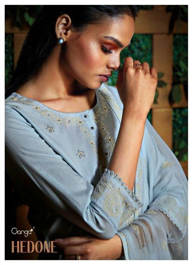 Ganga Fashion Hedone Premium Voile With Work Suits Catalog Supplier
