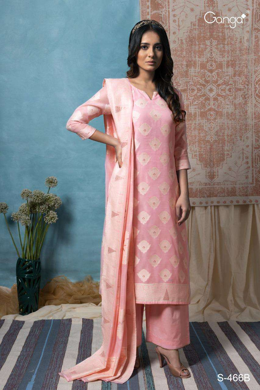 Ganga Vanya 466-467 Exclusive Designer Silk Partywear Suit Collection
