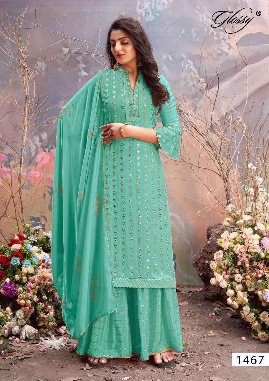 Glossy Mahek 1467 Party Wear Plazzo Style Salwar Kameez Catalog Supplier