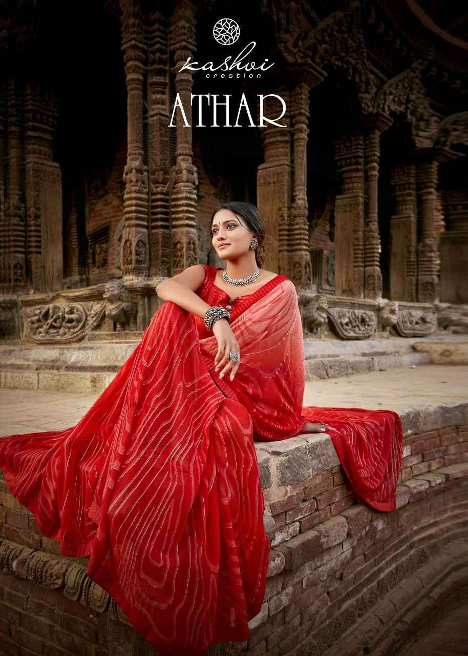 Kashvi Athar Printed Georgette Saree With Matching Mask Collection