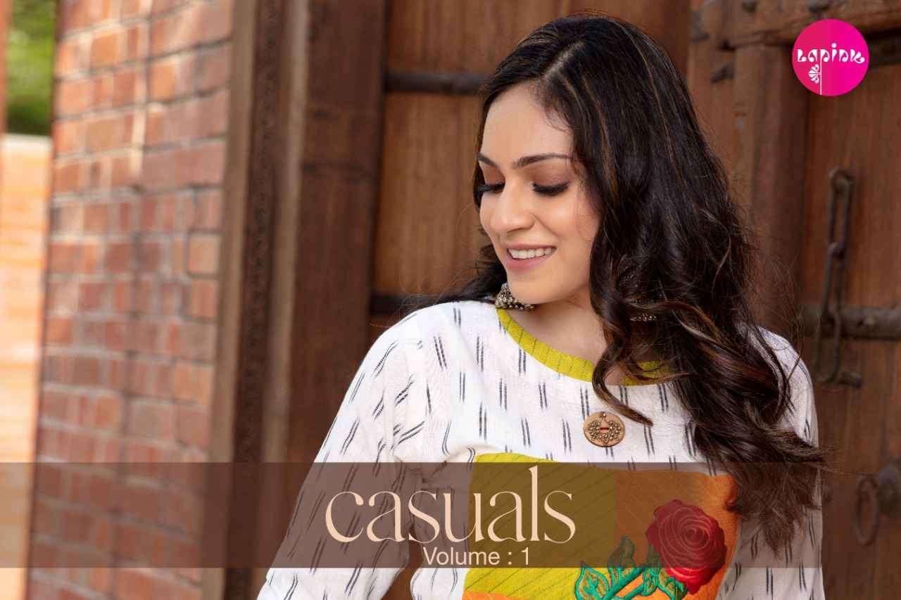 La Pink Casuals Vol 1 Designer Handwork Kurti Catalog at Best Rate