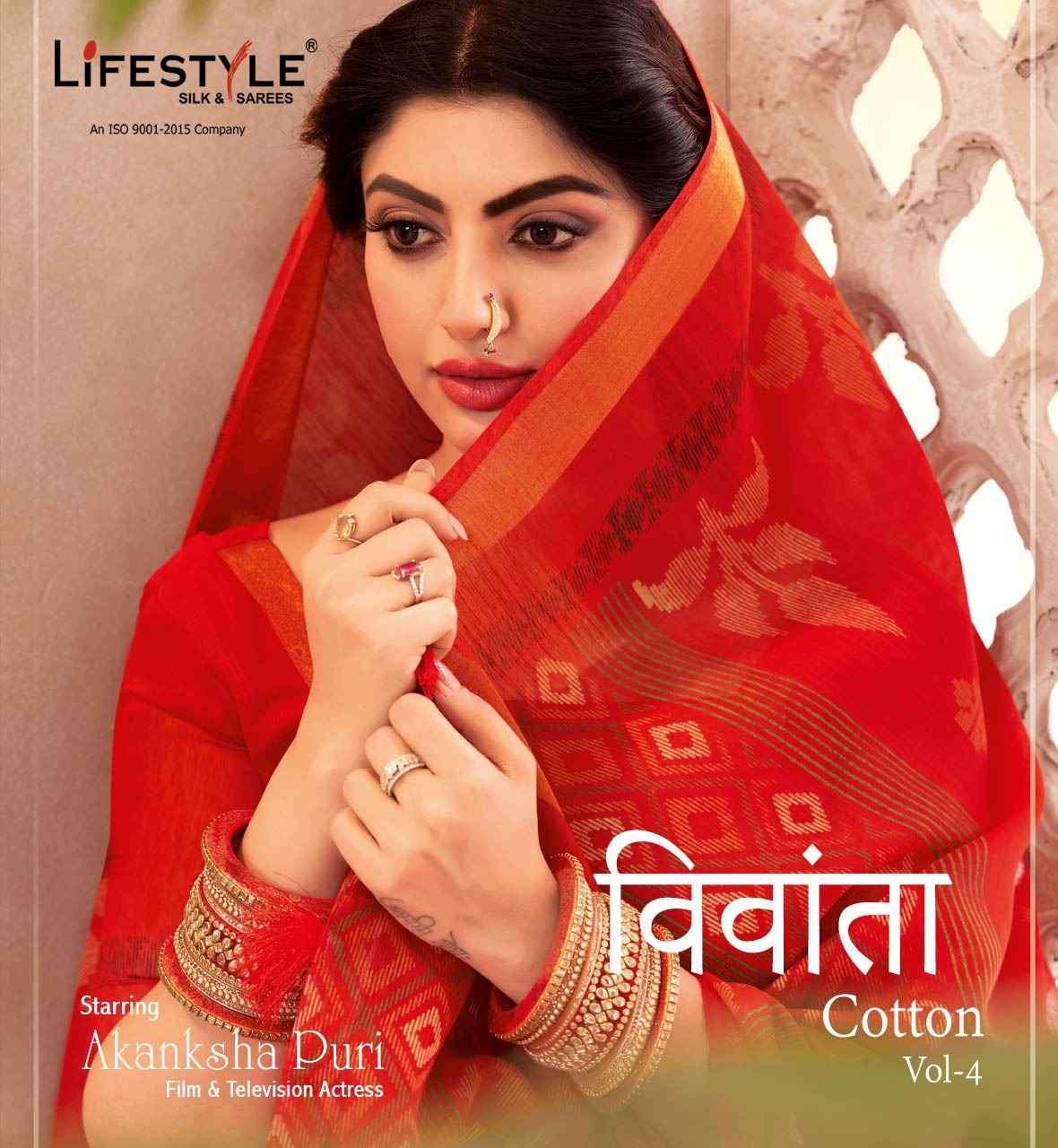 Lifestyle Vivanta Cotton Vol 4 Cotton Print Linen Saree Catalog Wholesaler