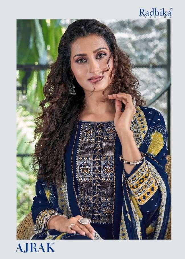 Radhika Azara Ajrak French Crepe Fancy Work Salwar Suits Dealer