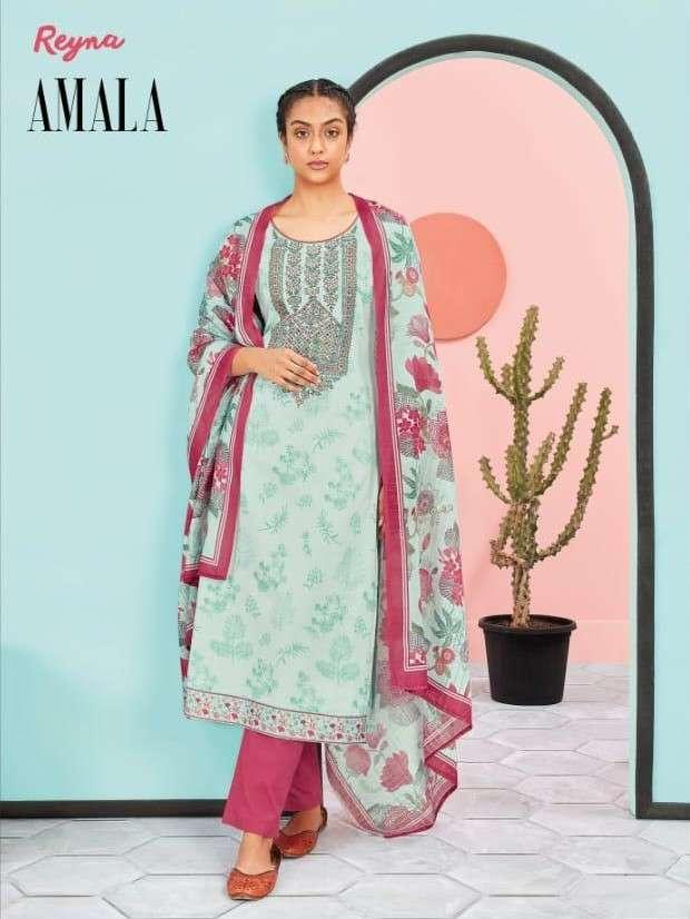 Reyna Fabrics Amala Lawn Cotton Ladies Salwar Suit Collection Supplier