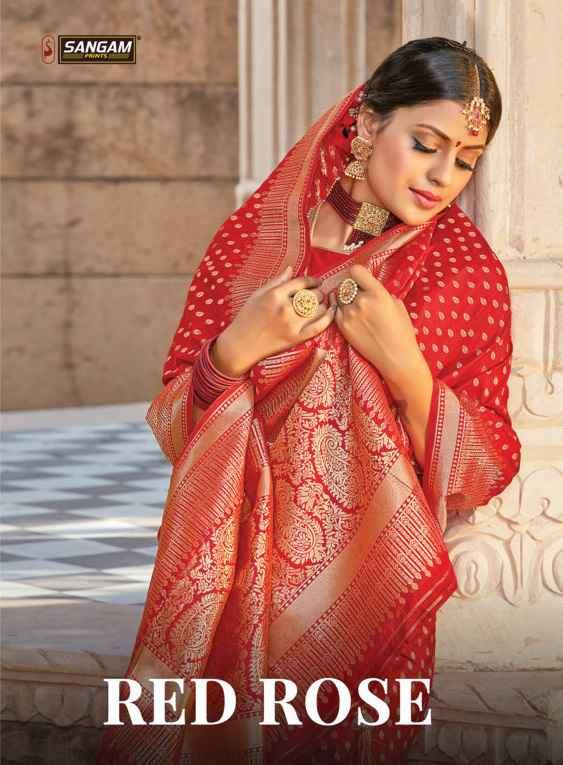 Sangam red Rose Vol 2 Pure Silk Saree Catalog Wholesale price