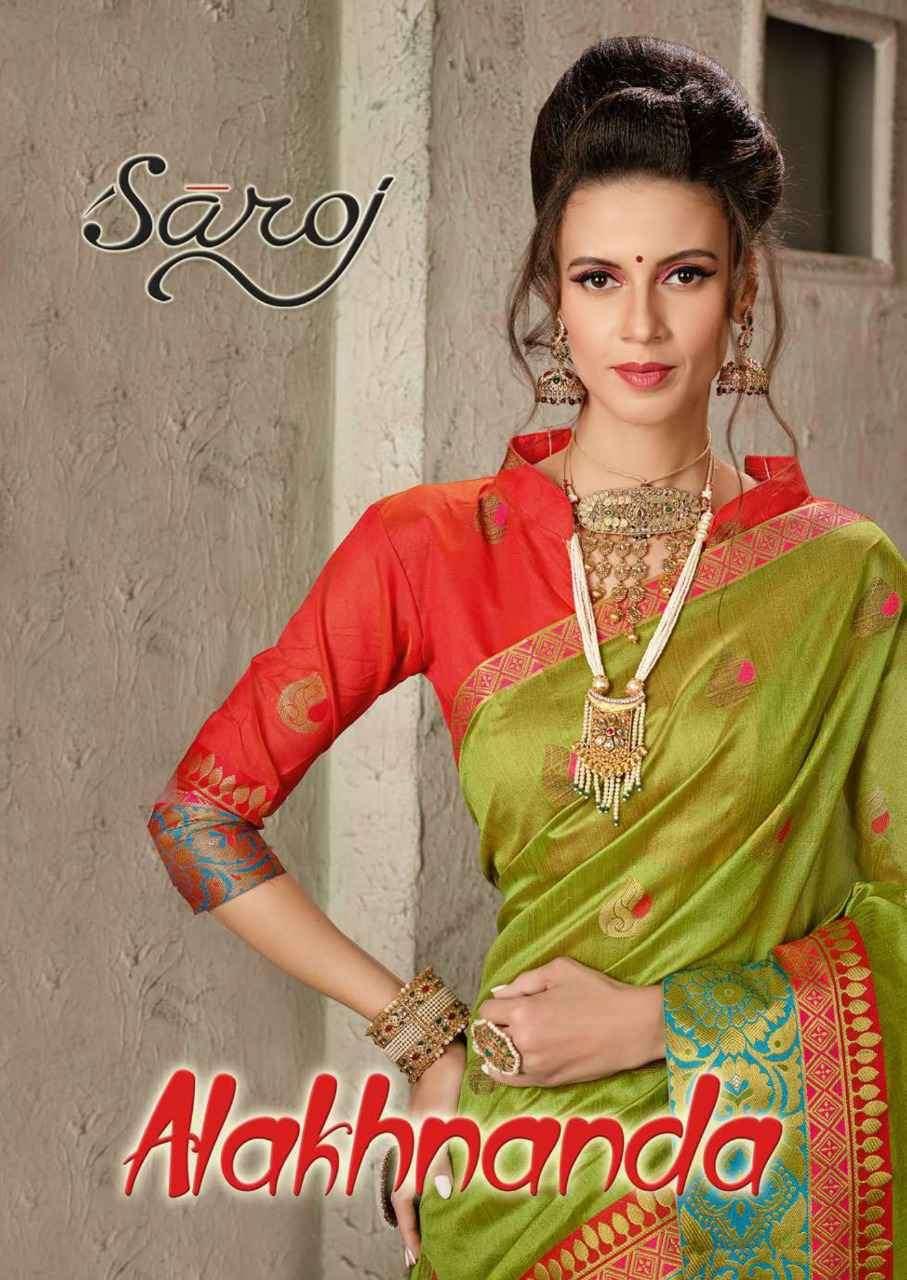 Saroj Sarees Alakhnanda Exclusive Cotton Silk Saree New Catalog Supplier