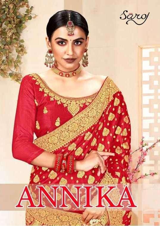 Saroj Sarees Annika Designer Special Red Collection Saree Catalog Supplier