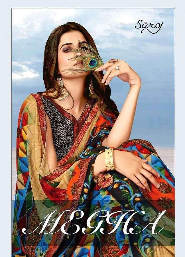 Saroj Sarees Megha Printed Georgette Saree Catalog Wholesaler