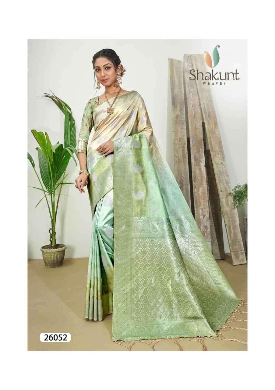 Shakunt Gulzaar Digital Print Weaving Silk Saree Catalog Supplier