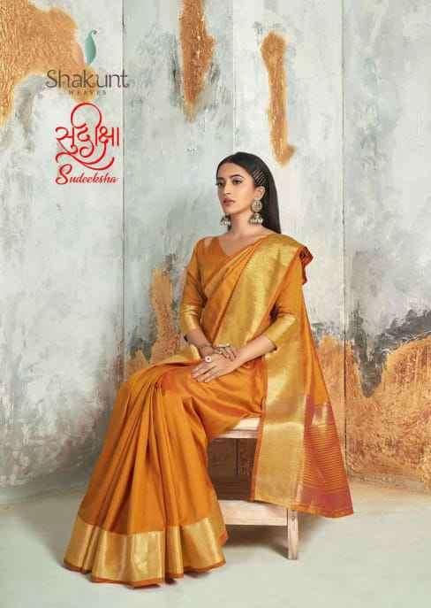 Shakunt Sudiksha Cotton Weaving Fancy Saree Catalog Dealer