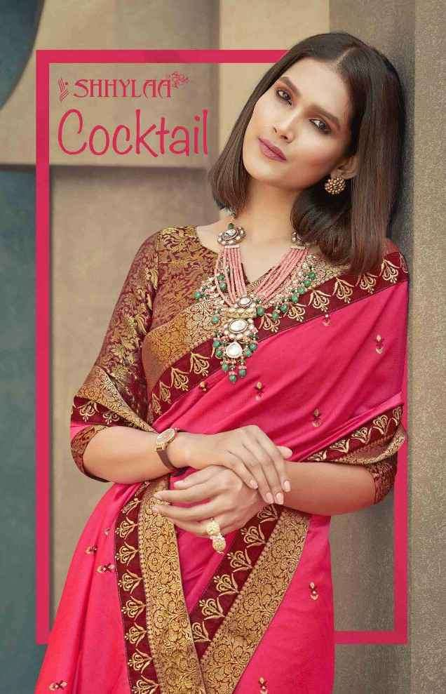 Shhylaa Cocktail Exclusive Vichitra Silk Saree Catalog Supplier in Surat