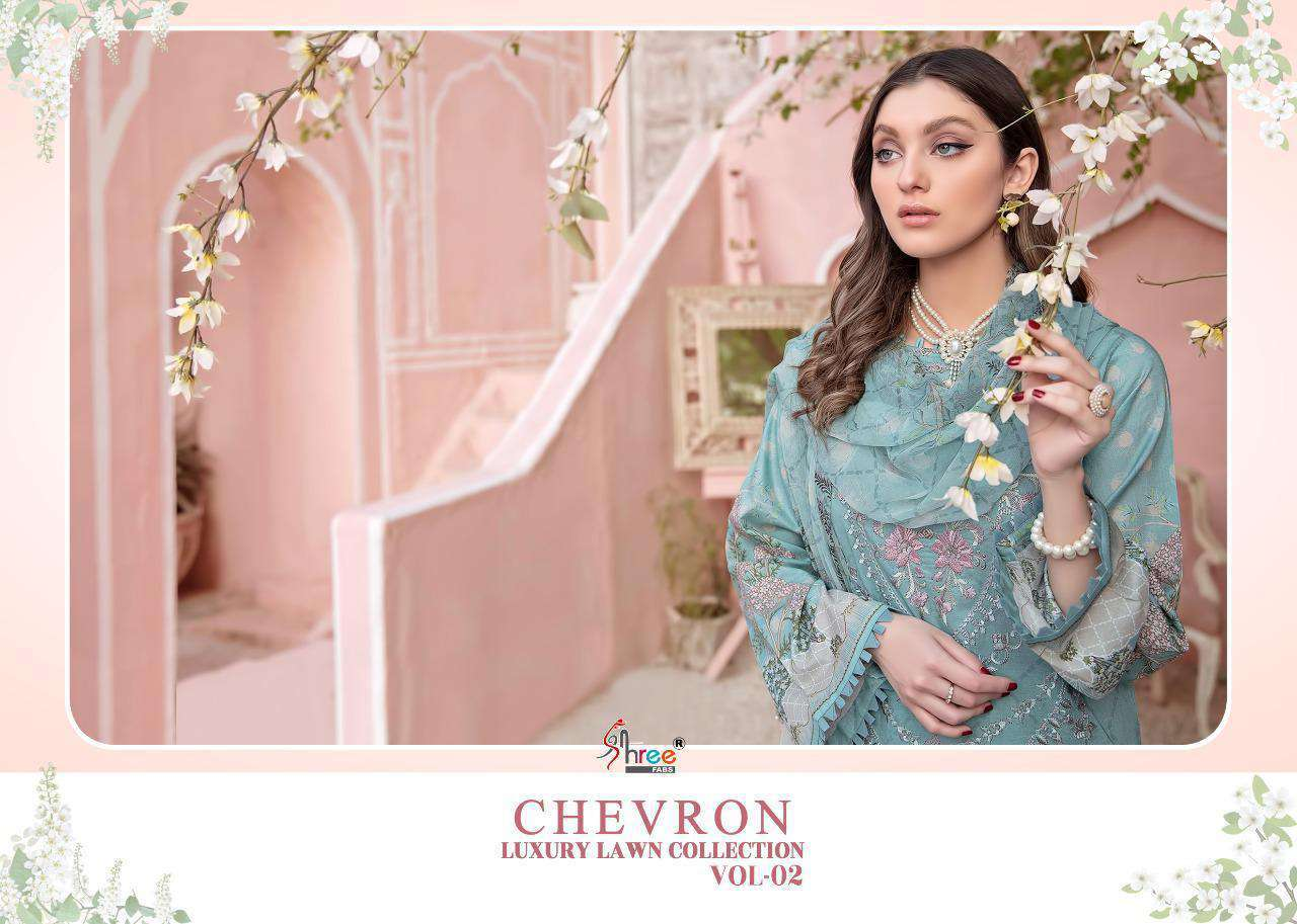 Shree Fabs Chevron Luxury Lawn Collection Vol 2 Pakistani Suits Supplier