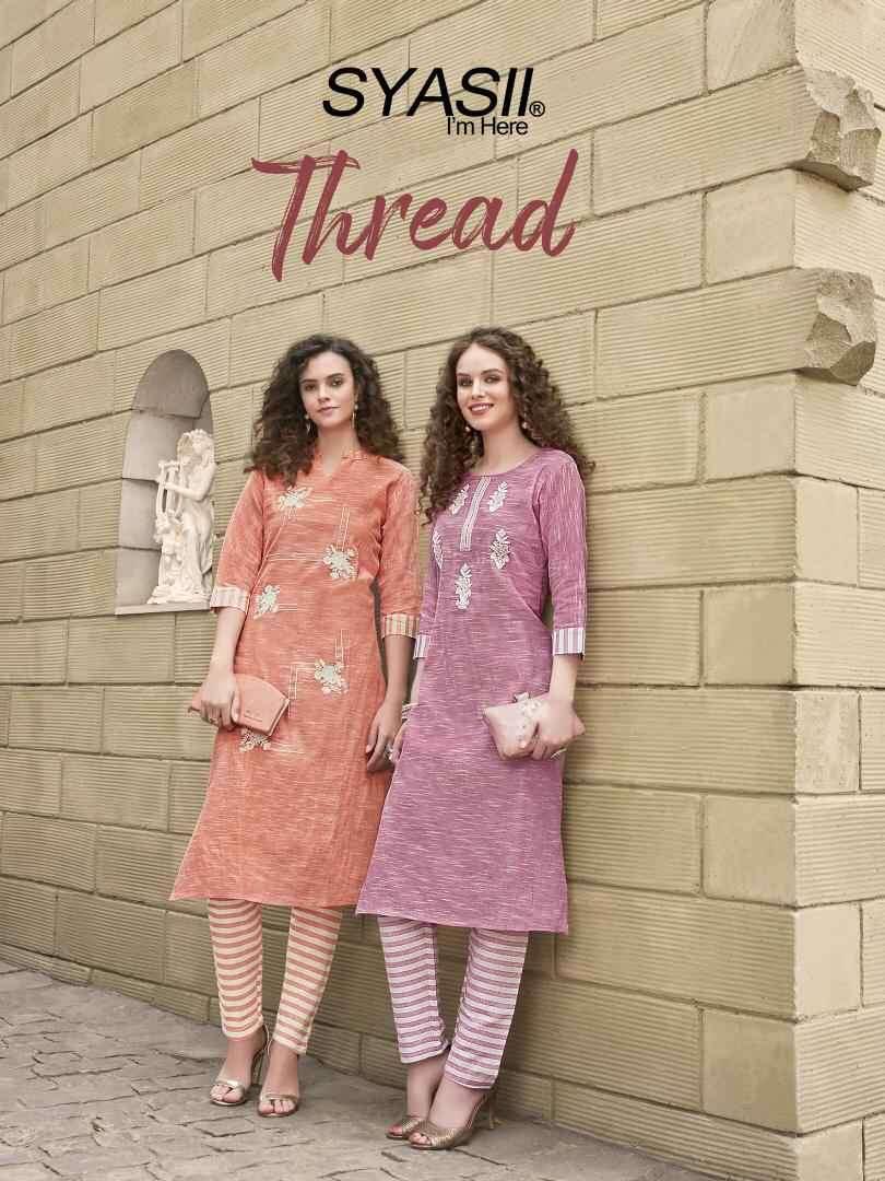 Syasii Thread fancy Khadi Cotton Kurti pant Catalog Supplier