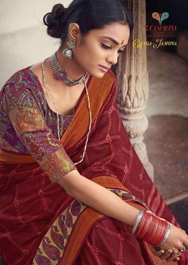 Triveni Ganga Jamuna Printed Cotton Linen Saree Catalog Supplier