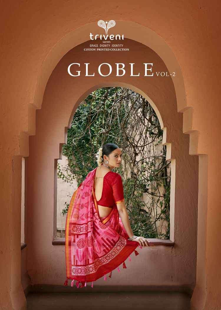 Triveni Globle Vol 2 Printed Cotton Saree Catalog Wholesale Price