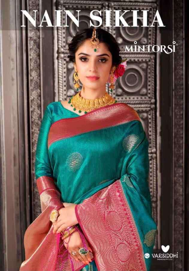 Varsiddhi Mintorsi Nain Sikha Exclusive Banarasi Silk Saree Catalog Wholesale Price