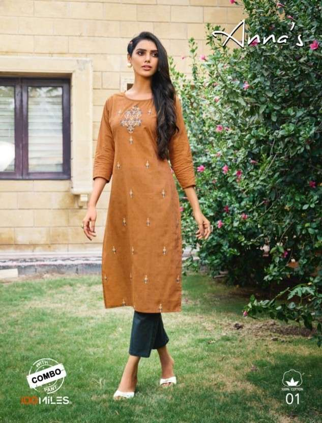 100 Miles Annas Pure Cotton Kurti with Pant Collection
