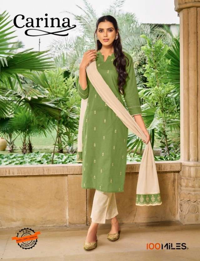 100 Miles Carina Cotton Embroidered Kurti With Dupatta and Pant Wholesale