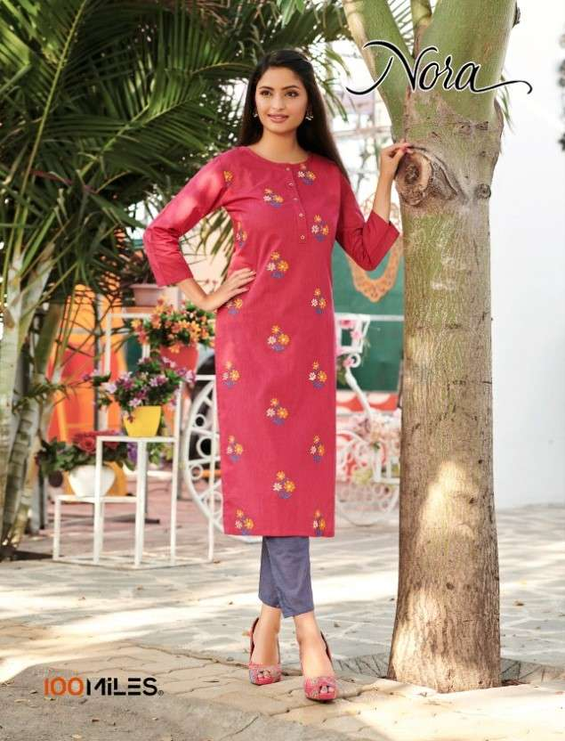 100 Miles Nora Cotton Kurti With Embroidery Best Price