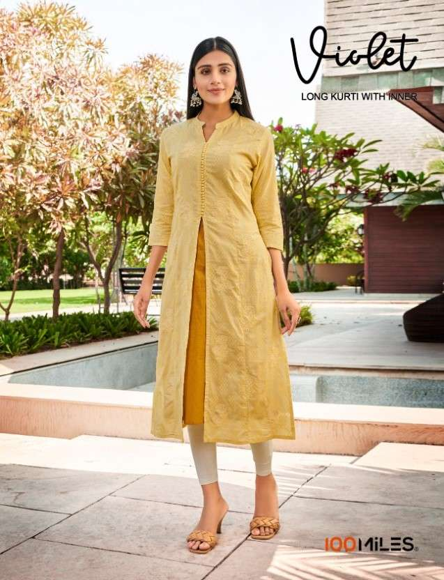 100 Miles Violet Cotton Long Kurti With Inner Collection by 100 Miles