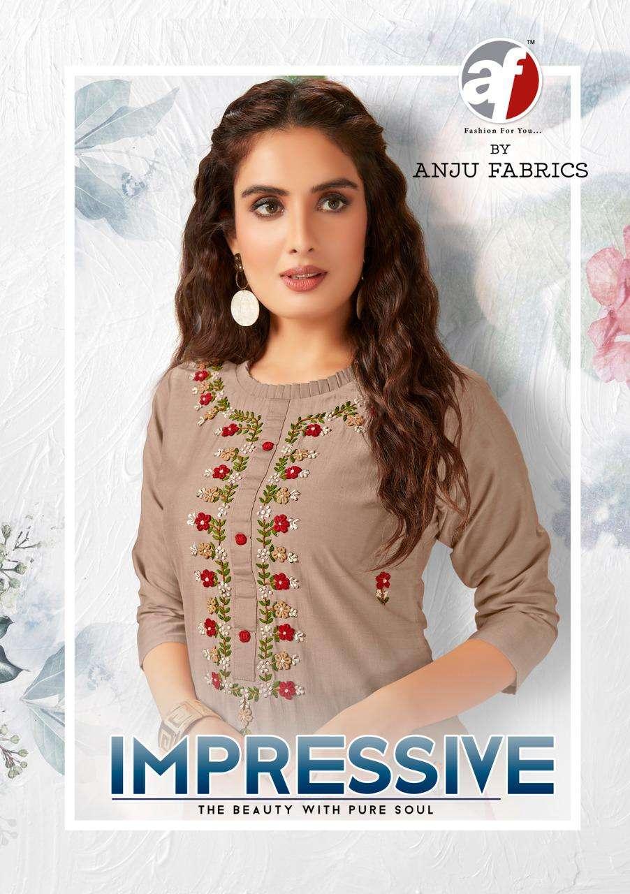 AF Stock Out Impressive By Anju fabric Handwork Silk Kurti Catalog Supplier