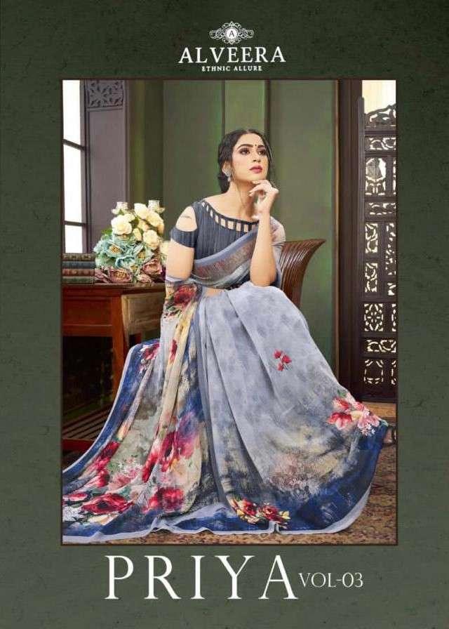 Alveera Priya Vol 3 Digital Print Georgette Saree Catalog Wholesale Price
