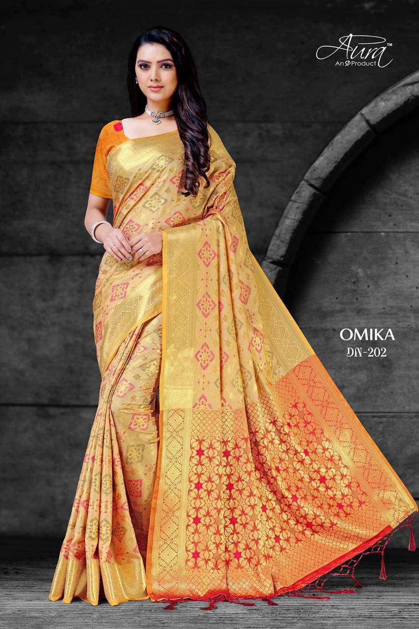 Aura Omika Cotton Silk Weaving Saree Catalog Supplier