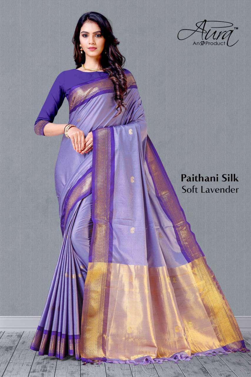 Aura Paithani SIlk Weaving Border Saree Catalog Supplier at best Rate