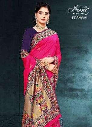Aura Peshwai fancy Designer Silk Saree Catalog Wholesale