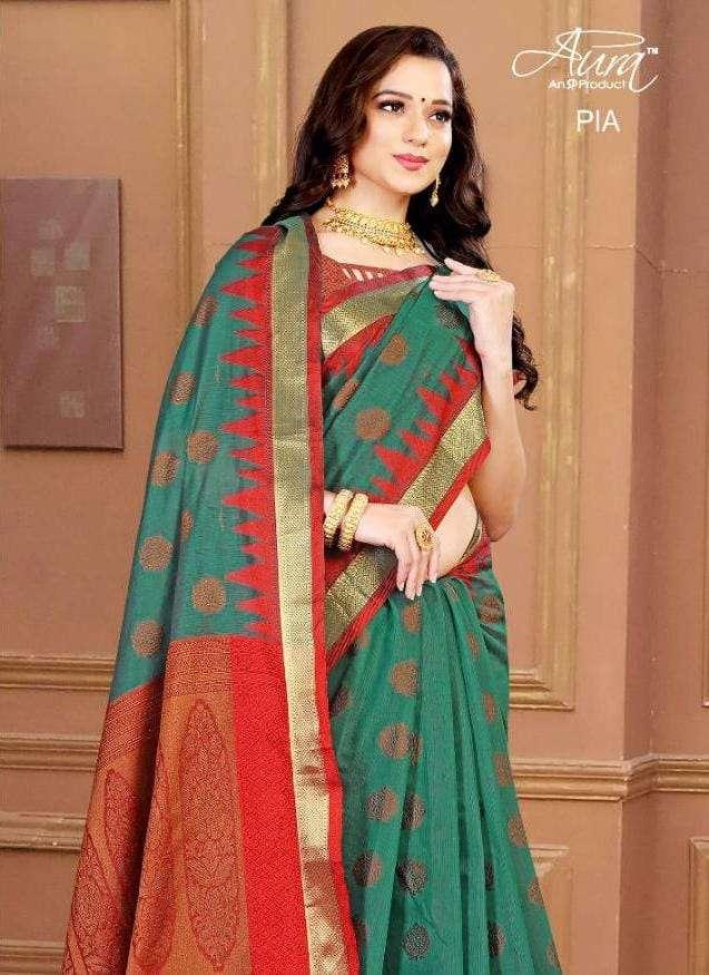 Aura Pia fancy Cotton Weaving Print Saree Catalog Wholesale price