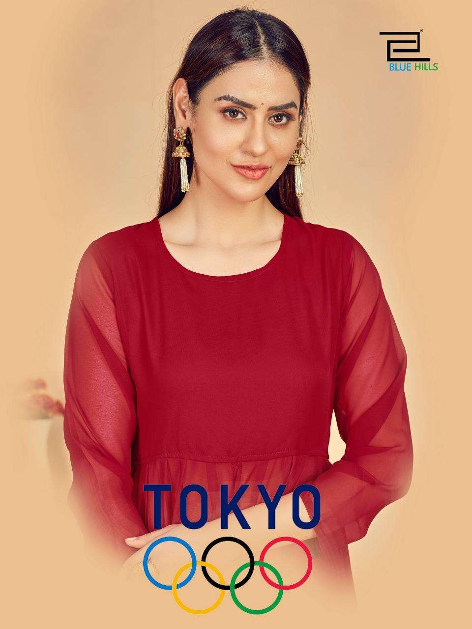 Blue Hills Tokyo Long Georgette Kurti Gown Catalog Wholesaler