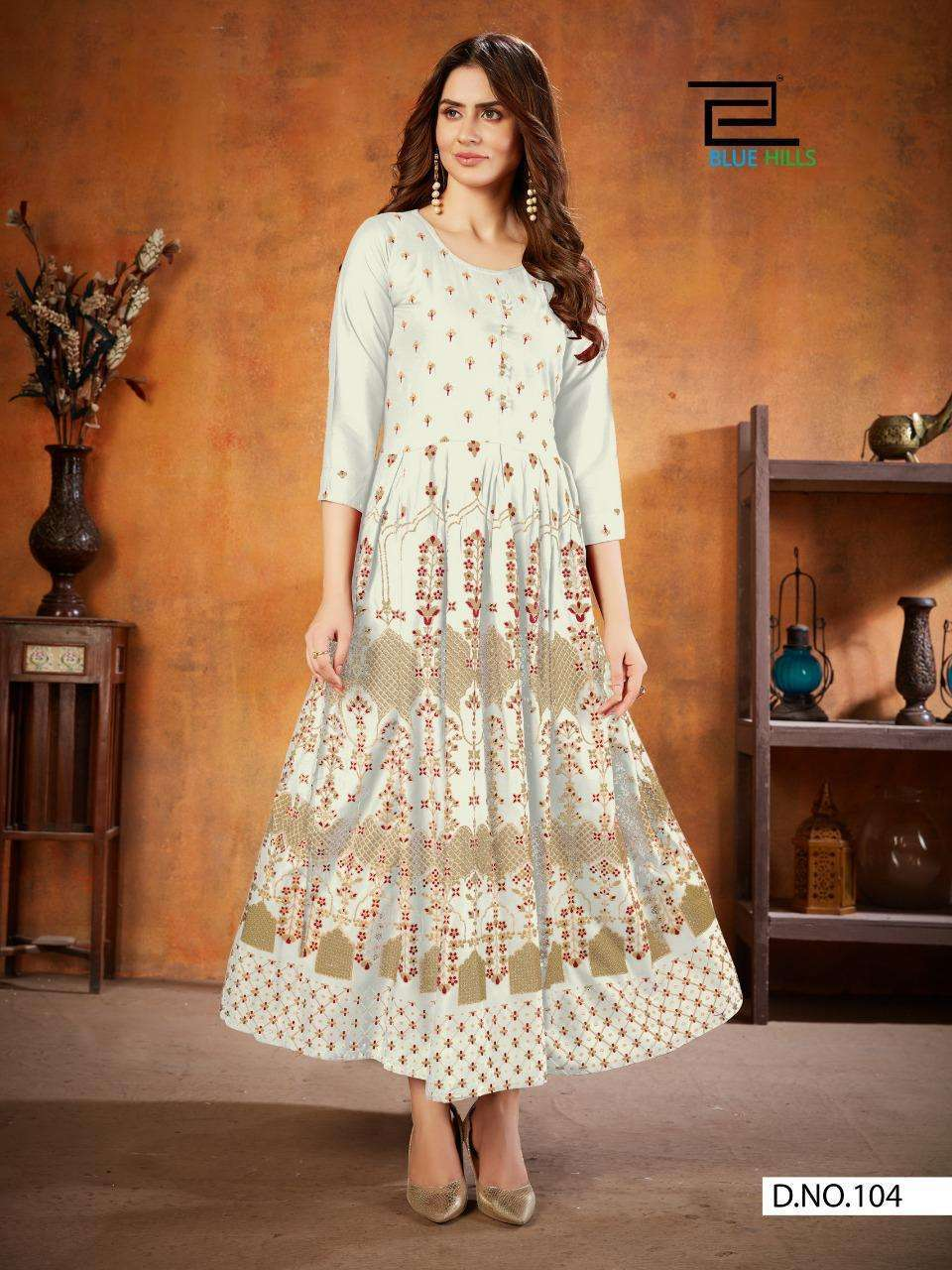 Blue Hills Walkway Edition Vol 1 Long Rayon Kurti Gown Collection
