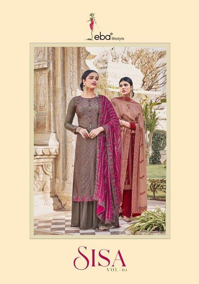 Eba Lifestyle Sisa Vol 1 Party Wear Chinon Dress New Collection 2021