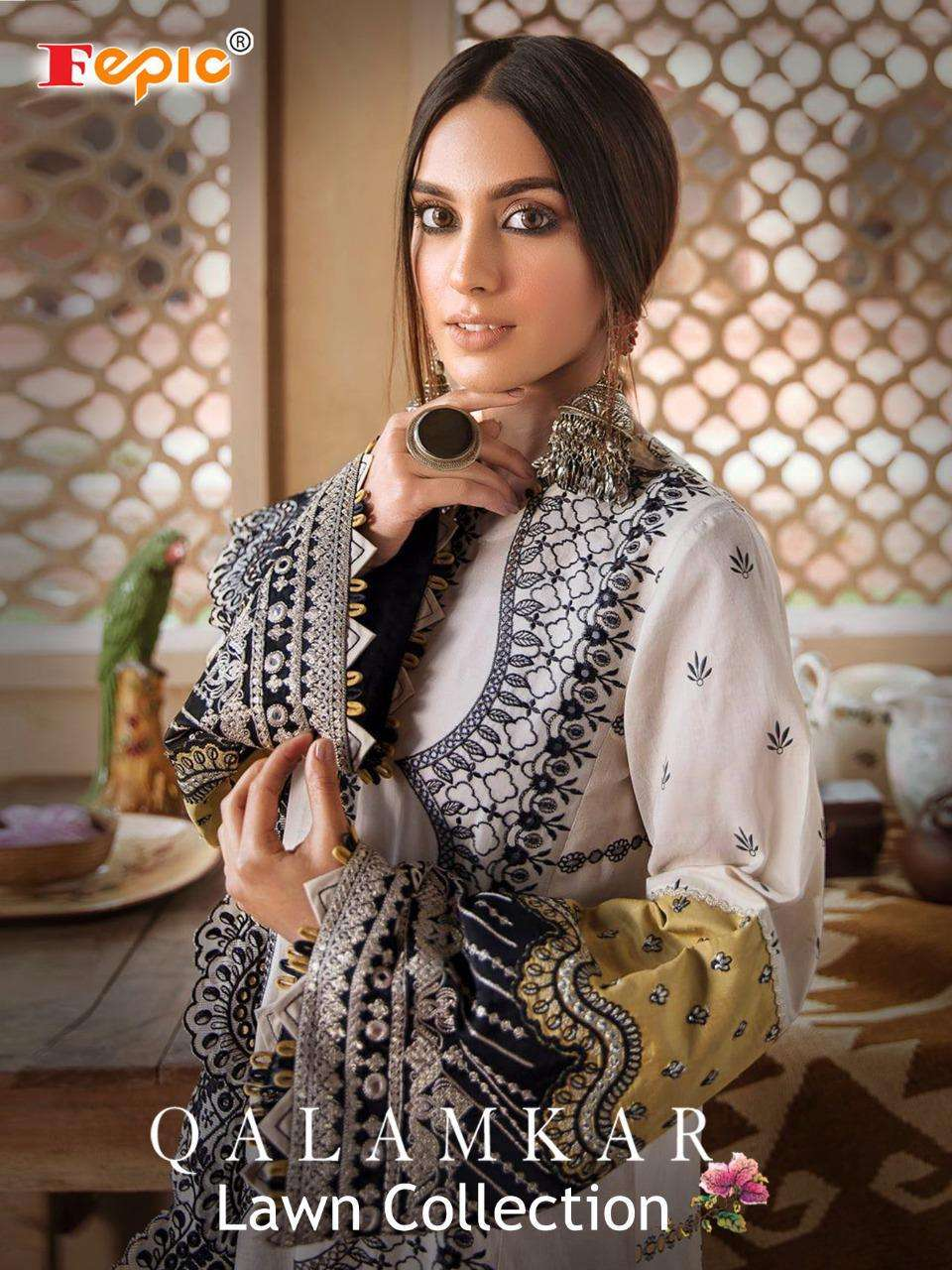 Fepic Qalamkar Lawn Collection Cambric Cotton Salwar Kameez In Wholesale
