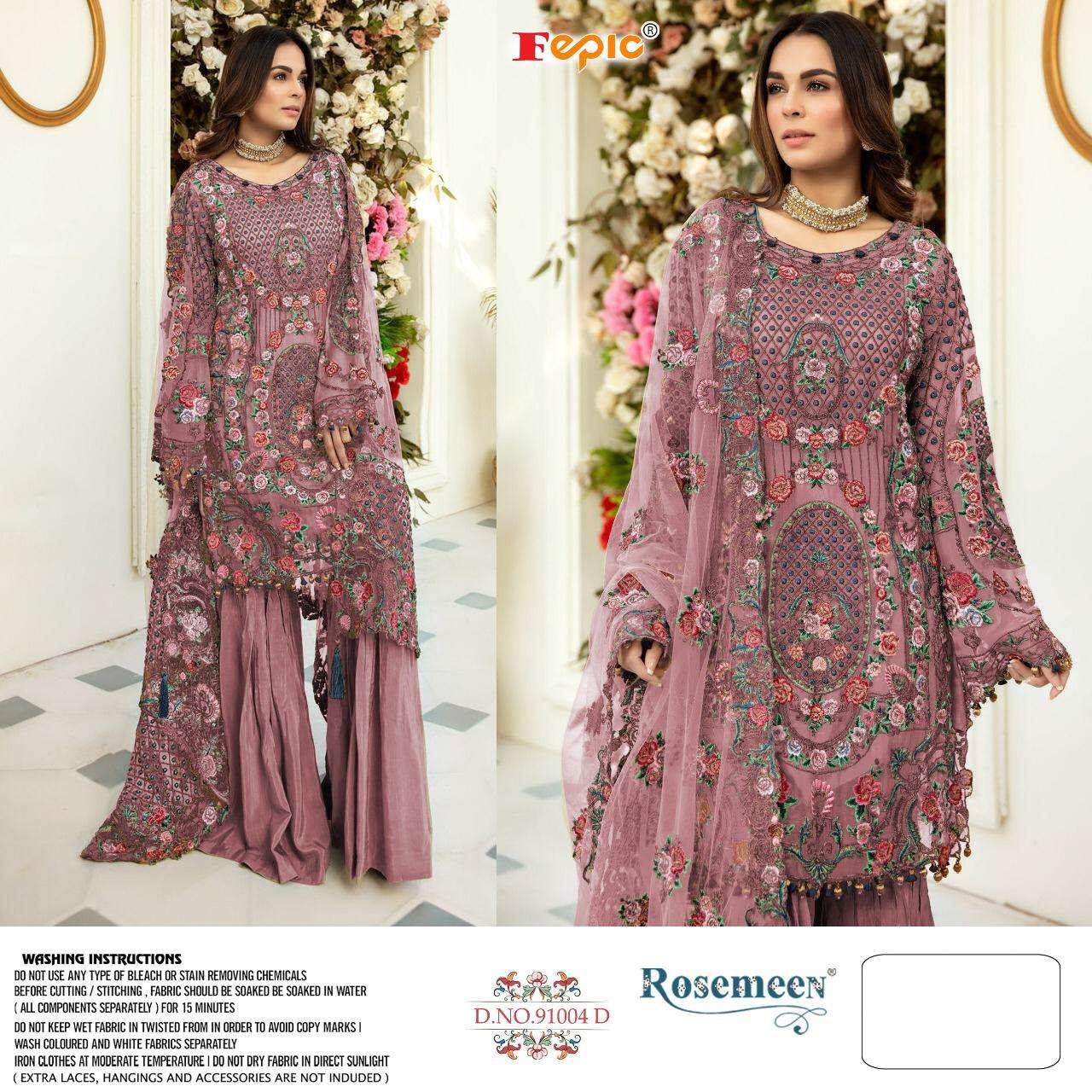 Fepic Rosemeen 91004 Colors Fancy Pakistani Suit Catalog Wholesale Price