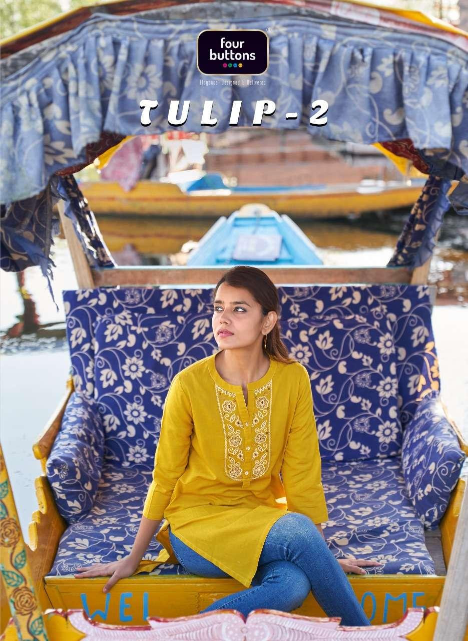 Four Buttons Tulip Vol 2 Office Wear Short Cotton Kurti Catalog Wholesaler