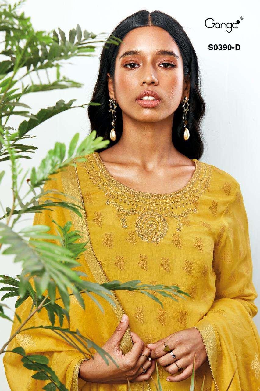 Ganga Gloria 390 Chiffon Jacquard Partywear Suit Wholesale