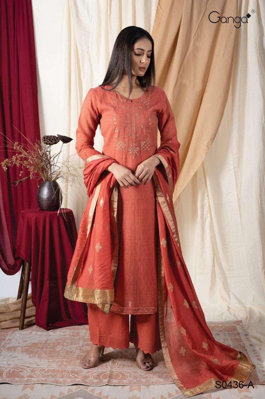 Ganga Greetha 436 Designer Wovem Banarasi Dupatta Salwar Suit Designs