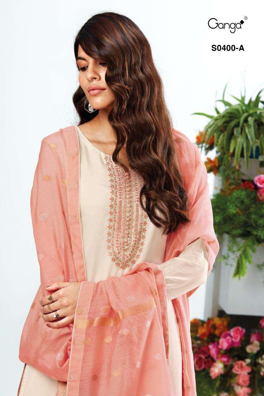 Ganga Lyla 400 Designer habutai Silk Salwar Suit New catalog Wholesaler