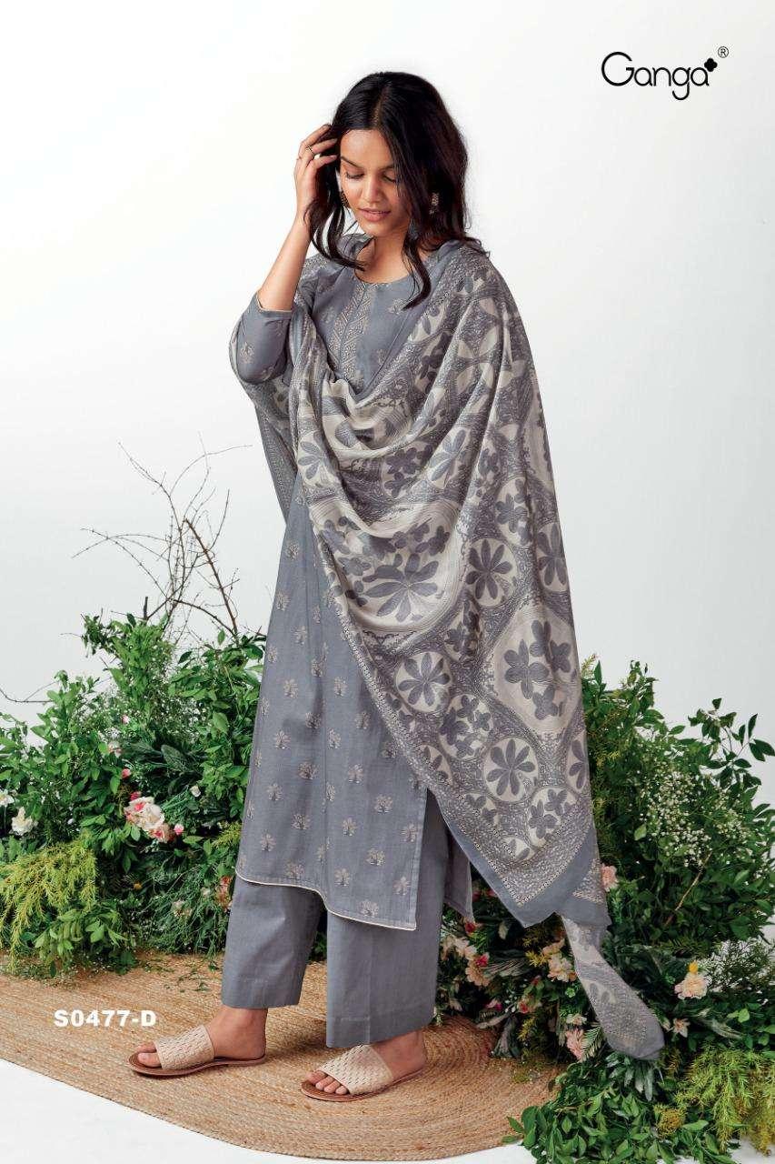 Ganga Orin 477 Four Colour Matching Cotton Salwar Kameez Catalog Supplier