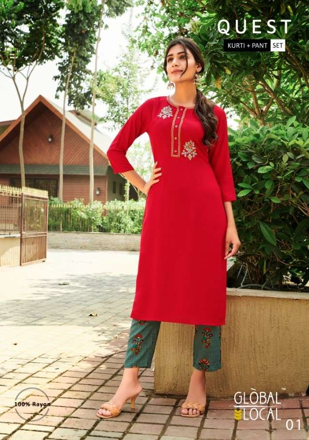 Global Local Quest Fancy Rayon Kurti Pant Combo Set Collection