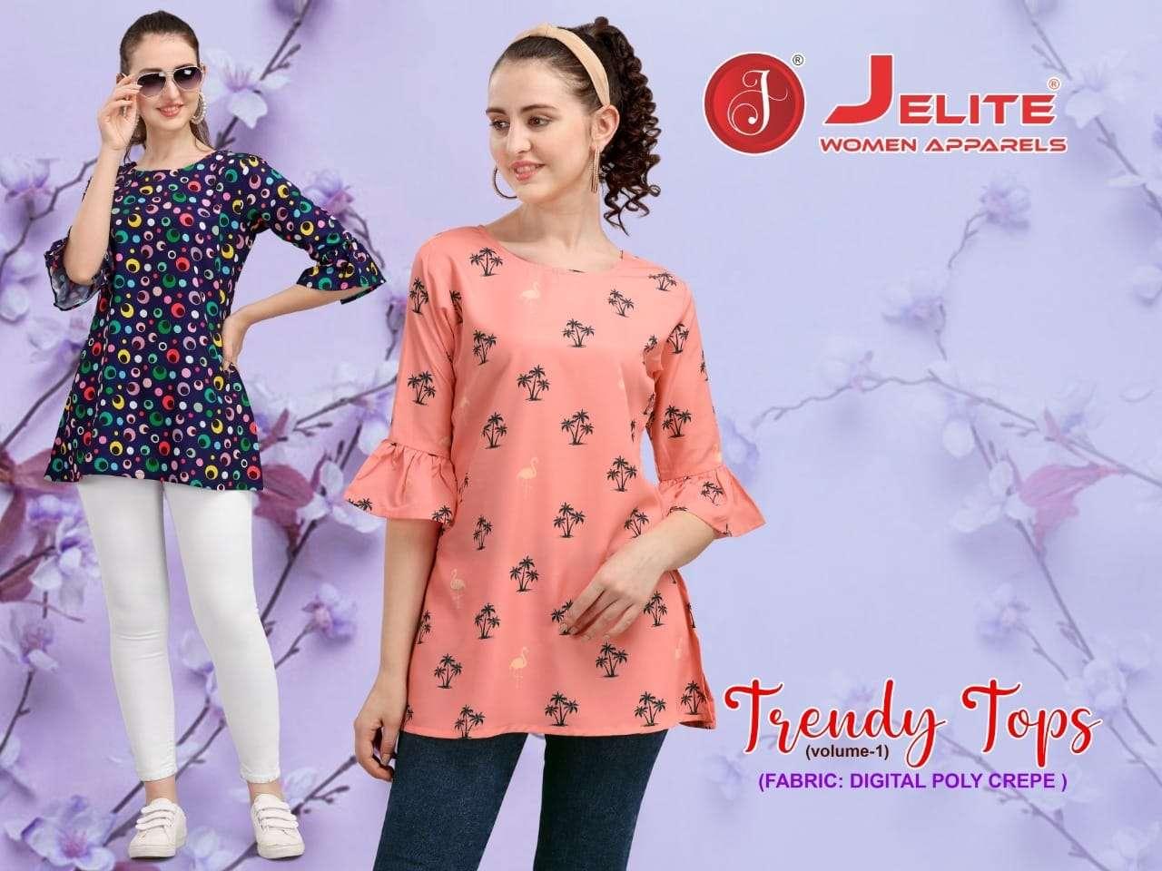 Jelite Trendy Tops Vol 1 Printed Crepe Short tops Catalog Supplier