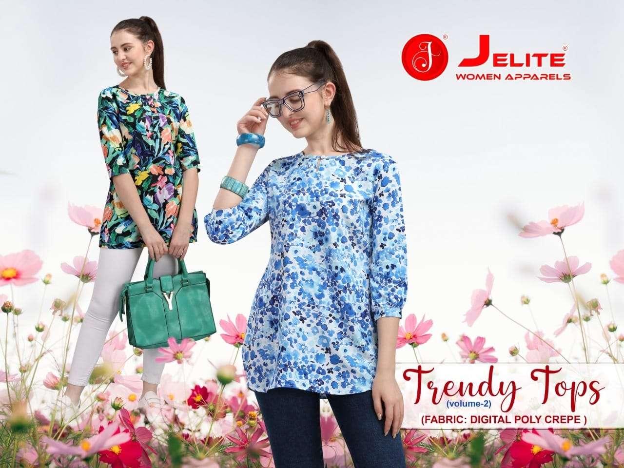 Jelite Trendy Tops Vol 2 Printed Crepe Short top Catalog Wholesale price
