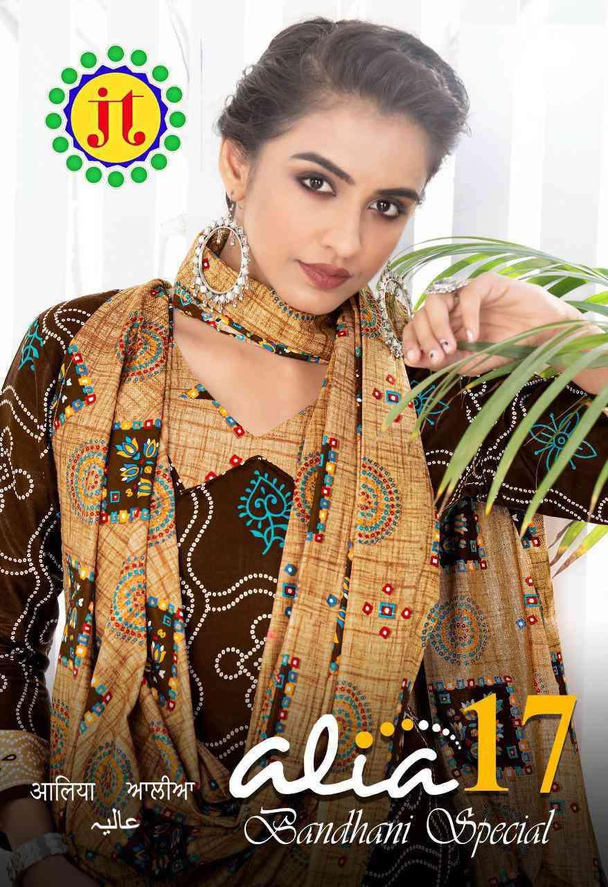 JT Textile Alia Vol 17 Cotton Bandhani Print Unstitched Suits Wholesale