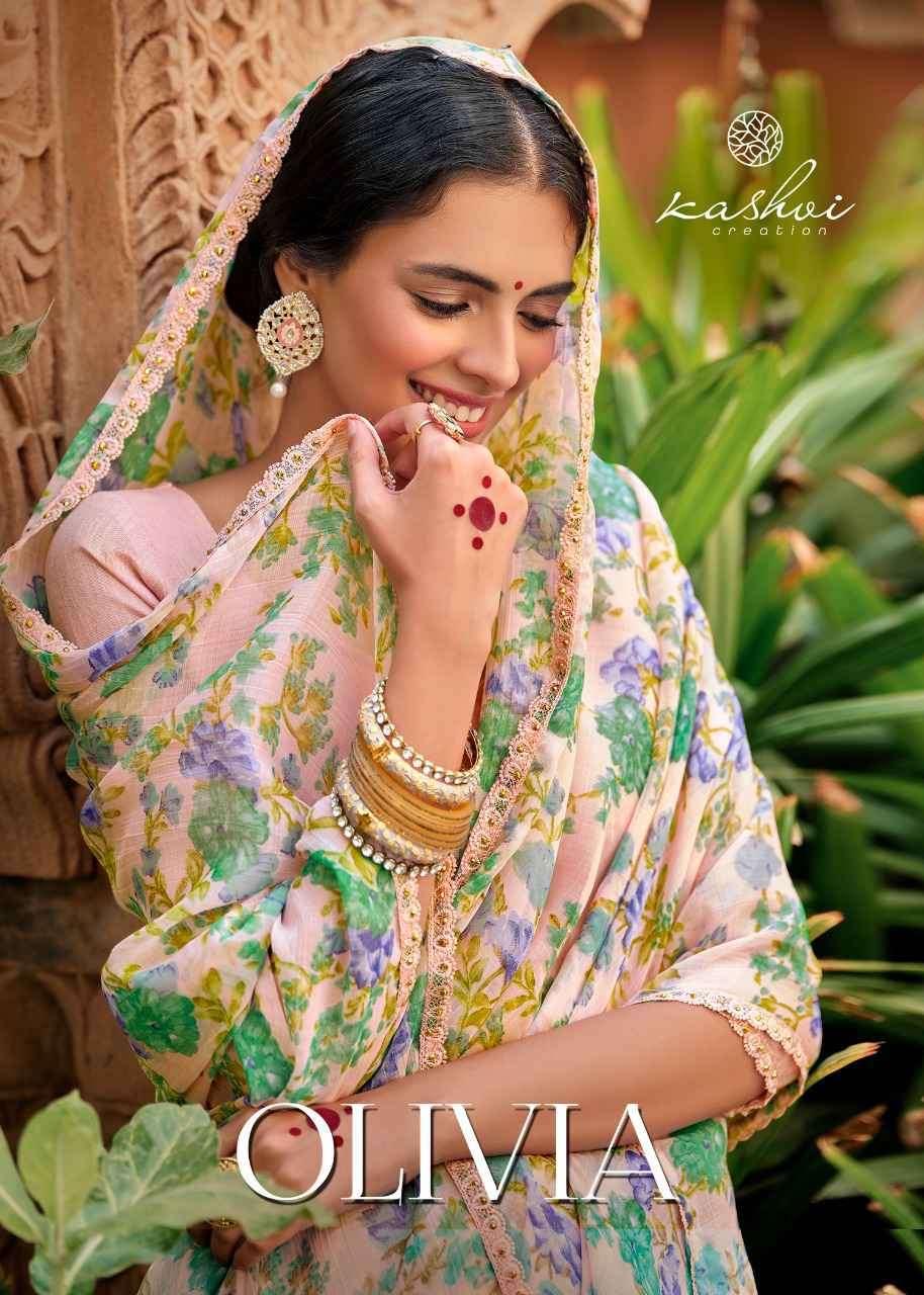 Kashvi Olivia Chiffon With Fancy Lace Saree Catalogue Online Dealer