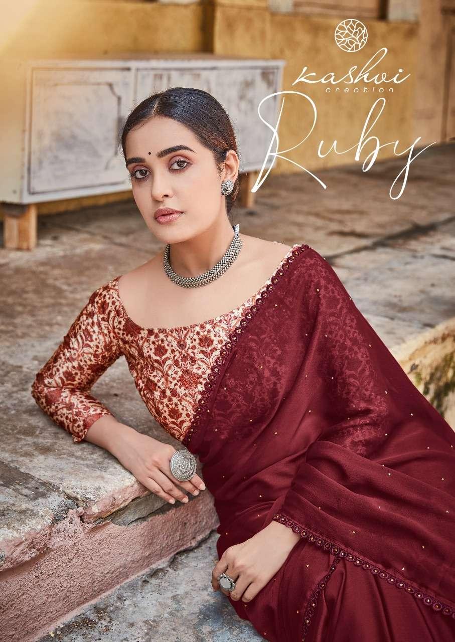 Kashvi Ruby Fancy Chiffon Saree Catalog Wholesale Price In Surat
