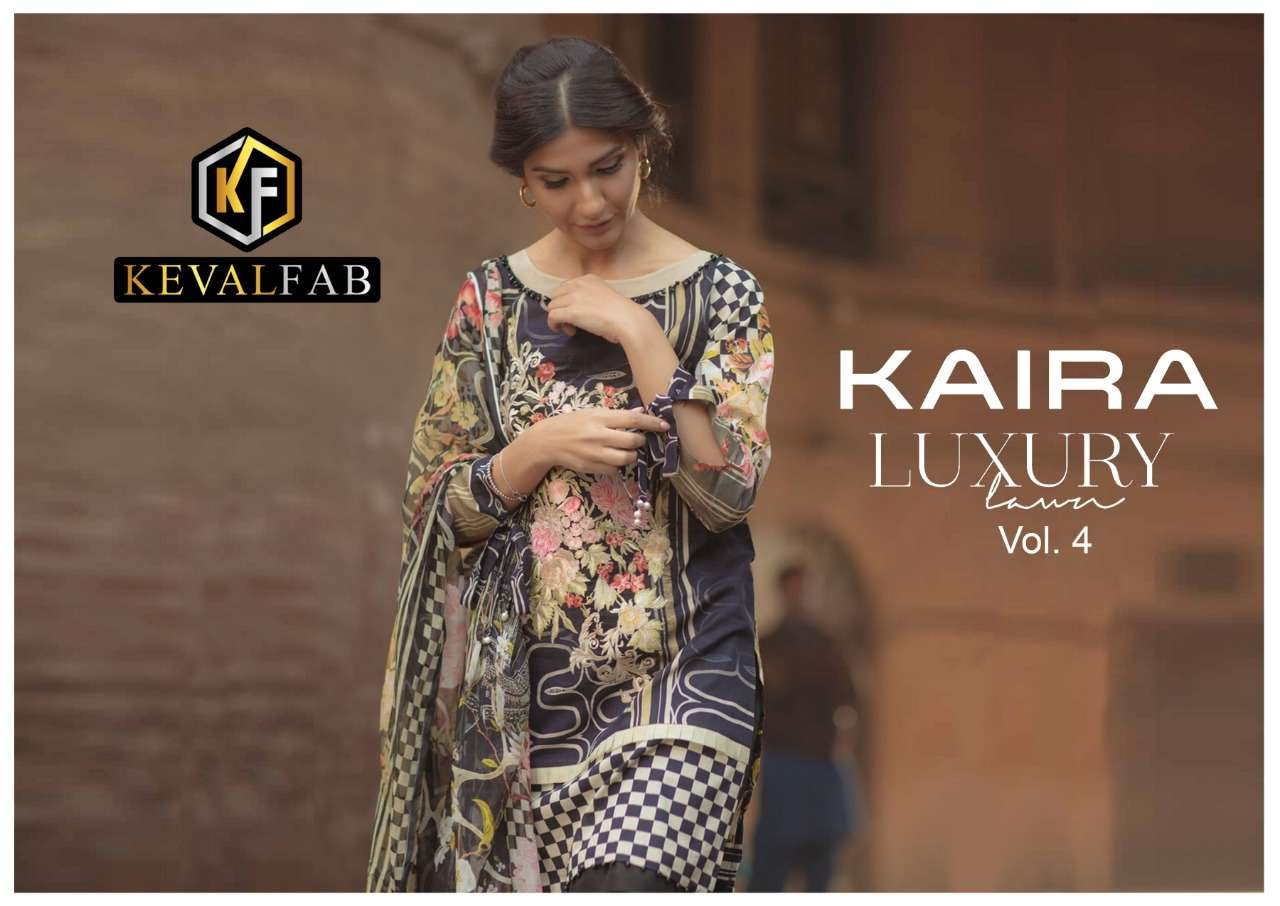 Keval fab Kaira Luxury Vol 4 Exclusive Printed Karachi Suit Catalog Wholesaler