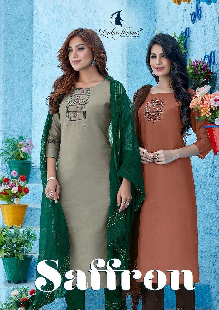 Ladies Flavour Saffron Exclusive Designer 3 Piece Set Catalog Wholesaler