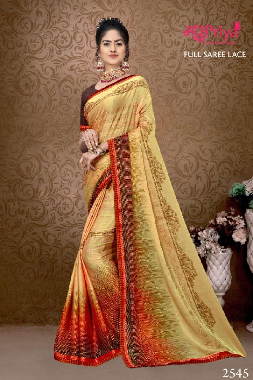 Madhupriya Hansraj Fancy Chiffon Saree Catalog Delaer